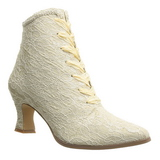 Beige 12 cm VICTORIAN-30 Dam Boots med Sn�rning