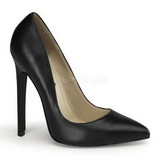 Black Leather 13 cm SEXY-20 Women Pumps Shoes Flat Heels
