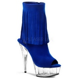 Blue Suede 15 cm DELIGHT-1019 womens fringe ankle boots high heels