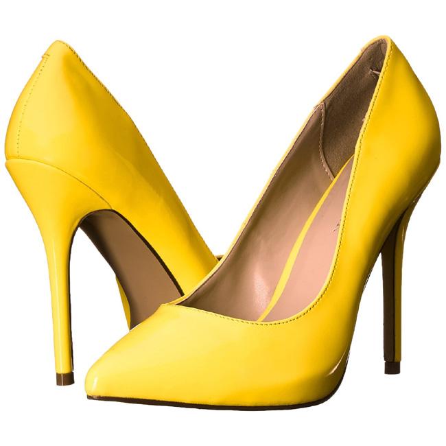 AMUSE-20 gula neon damskor med klack storlek 35 - 36