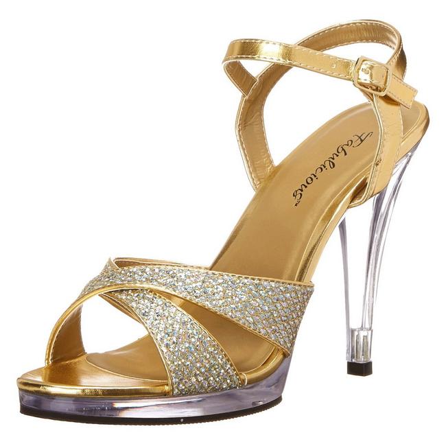 FLAIR-419G guld glitter damskor med höga klackar storlek 35 - 36