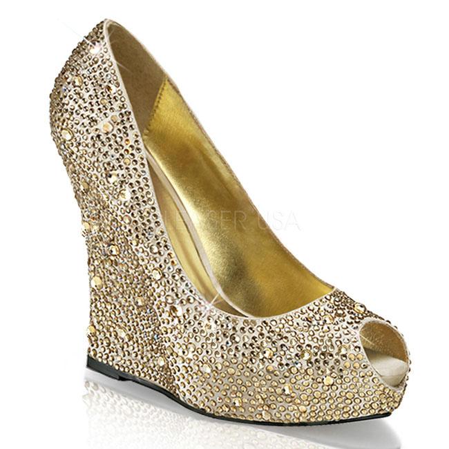 ISABELLE-18 guld damskor med kilklackar storlek 35 - 36