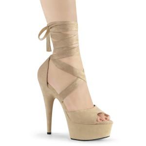 Beige Konstläder 15 cm DELIGHT-679 högklackade skor med ankelband