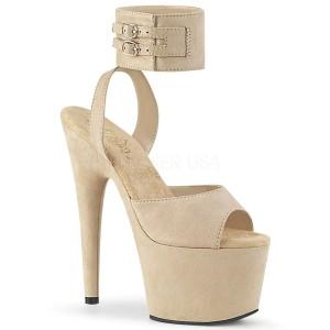 Beige Konstläder 18 cm ADORE-791FS högklackade skor med ankelband