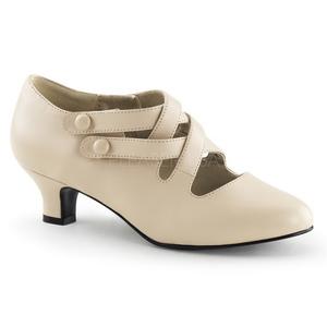 Beige Matte 5 cm retro vintage DAME-02 Pumps with low heels