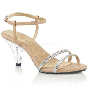 Beige rhinestones 8 cm BELLE-316 transvestite shoes
