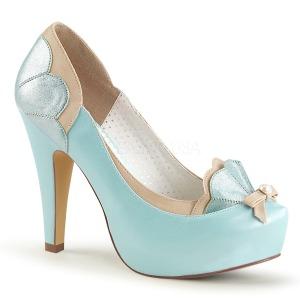 Blå 11,5 cm BETTIE-20 Pinup pumps skor med dold platå