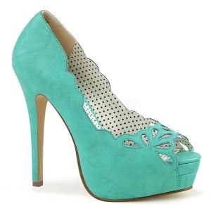 Blå Konstläder 13,5 cm BELLA-30 dam pumps skor med öppen tå