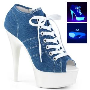 Blå Neon 15 cm DELIGHT-600SK-01 canvas sneakers med hög klack