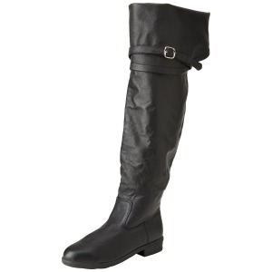 Black Leather 4 cm MAVERICK-2045 Thigh High Boots for Men