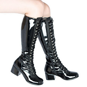 Black Patent 5 cm RETRO-302 High Heeled Lace Up Boots