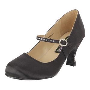 Black Satin 8 cm FLAPPER-20 Pumps with low heels