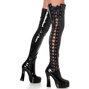 Black Shiny 13 cm ELECTRA-3050 High Heeled Overknee Boots