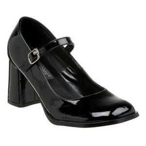 Black Shiny 8 cm GOGO-50 Pumps Shoes