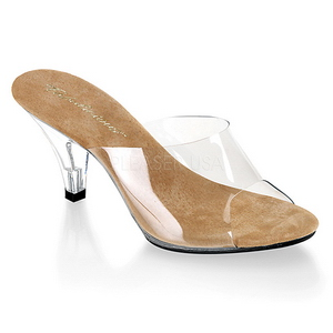 Brun Transparent 8 cm BELLE-301 Högklackade Slipper Skor