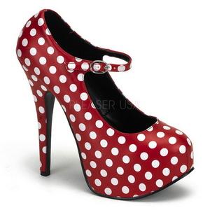 Burlesque TEEZE-08 Röda Platåpumps med Vita Punkter 14,5 cm Klackade
