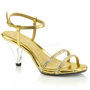 Gold rhinestones 8 cm BELLE-316 transvestite shoes