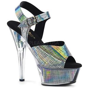 Grå 15 cm KISS-208N-CRHM Hologram platå klackar skor