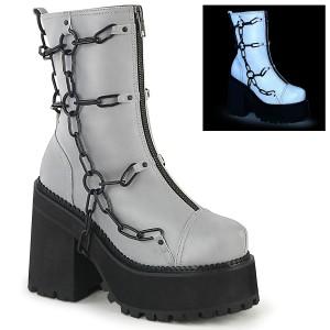 Grå Vegan 12 cm ASSAULT-66 lolita platå ankleboots med blockklack till kvinnor