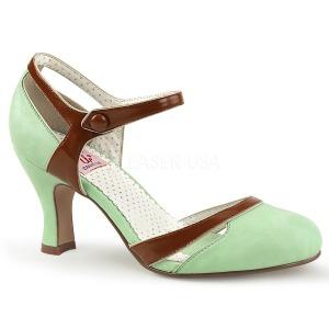 Grön 7,5 cm retro vintage FLAPPER-27 Pinup pumps skor med låg klack