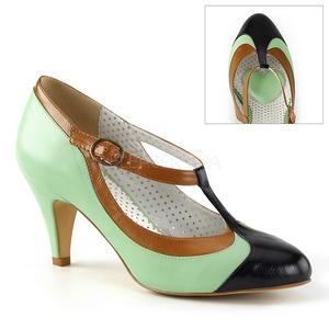 Grön 8 cm PEACH-03 Pinup pumps skor med låg klack