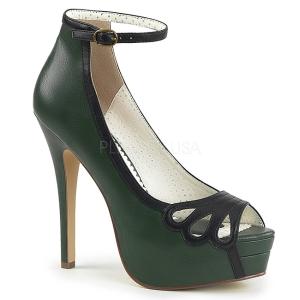 Grön Konstläder 13,5 cm BELLA-31 dam pumps skor med öppen tå