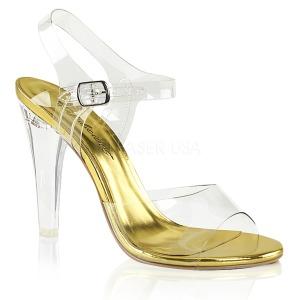 Guld 11,5 cm CLEARLY-408 Höga fest sandaler med klack
