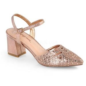 Guld glittrig 7 cm Fabulicious FAYE-06 högklackade sandaletter