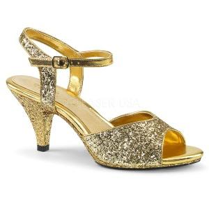 Guld glittrig 8 cm BELLE-309G klackskor för män