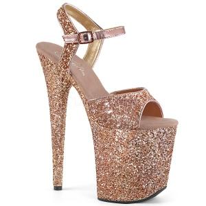 Koppar 20 cm FLAMINGO-810LG glitter platå klackar skor