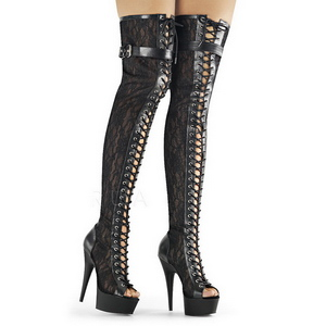Lace Fabric 15 cm DELIGHT-3025ML Platform Thigh High Boots