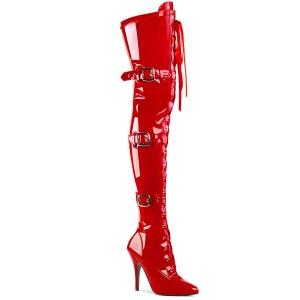 Lackläder 13 cm SEDUCE-3028 Röda lårhöga stövlar med snörning