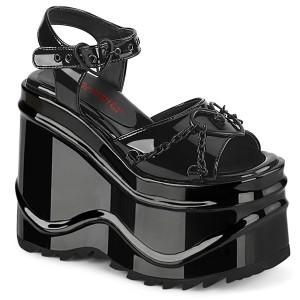 Lackläder 15 cm Demonia WAVE-09 lolita platåsandaler med kilklack