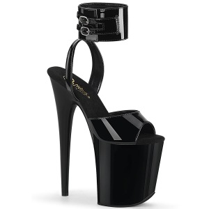 Lackläder 20 cm FLAMINGO-891 högklackade skor med ankelband