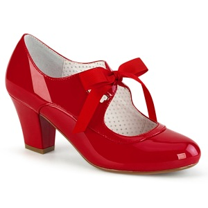 Lackläder Röd 6,5 cm WIGGLE-32 retro vintage maryjane pumps med blockklack
