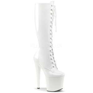 Leatherette White 19 cm TABOO-2023 laced womens boots with platform