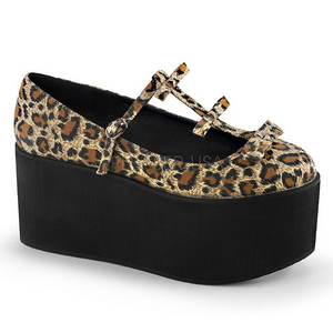 Leopard duk 8 cm CLICK-08 goth platåskor lolita skor tjock sula
