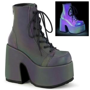 Neon 13 cm CAMEL-203 Svarta boots med platåklack från demonia