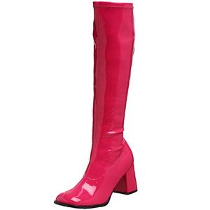 Pink Lackerade 8,5 cm GOGO-300 Höga Damstövlar för Män