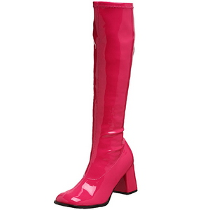 Pink Shiny 8,5 cm GOGO-300 High Heeled Womens Boots for Men