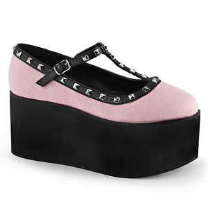 Pink duk 8 cm CLICK-07 goth platåskor lolita skor tjock sula