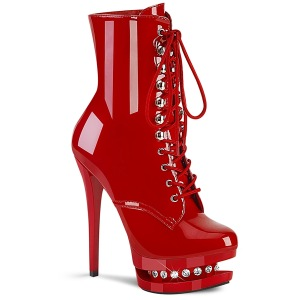 Red 15,5 cm BLONDIE-R-1020 lace up platform ankle boots in patent