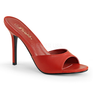 Röd 10 cm CLASSIQUE-01 dam tofflor med höga klack