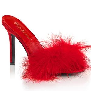 Röd 10 cm CLASSIQUE-01F dam tofflor med maraboufjädrar