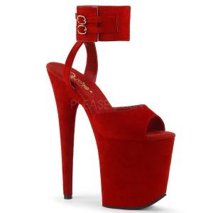 Röd 20 cm FLAMINGO-891 mocka platå klackar skor