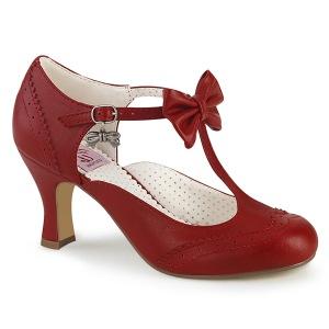 Röd 7,5 cm retro vintage FLAPPER-11 Pinup pumps skor med låg klack