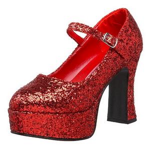 Röd Glitter 11 cm MARYJANE-50G Höga Platåpumps Mary Jane