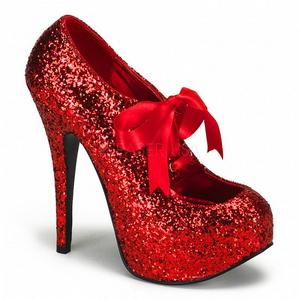 Röd Glitter 14,5 cm Burlesque TEEZE-10G Platform Pumps Skor