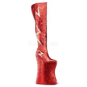 Röd Glitter 34 cm VIVACIOUS-3016 Overknee Stövlar för Drag Queen