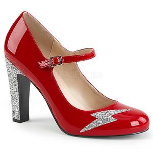 Röd Lackläder 10 cm QUEEN-02 stora storlekar pumps skor